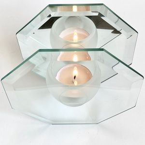 Mirror & Glass Octagon Tea Lite Candle Holder